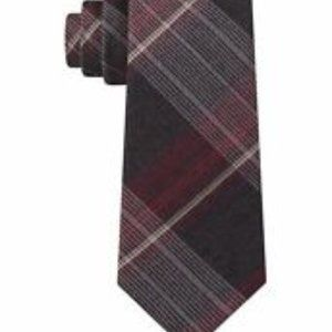 Kenneth Cole Mens Red Gray Plaid Neck Tie